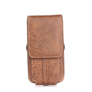 Belt Loop Vertical Leather Case Holster for iPhone 7 Plus/ Galaxy A8 (2016) Etc, Size 165 x 85 x 10mm - Light Brown