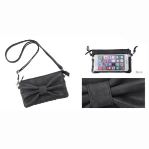 Touchable 3D Bowknot Leather Pouch Bag for iPhone 7 Plus/Samsung S7 etc, Size: 158 x 77 x 7mm - Black