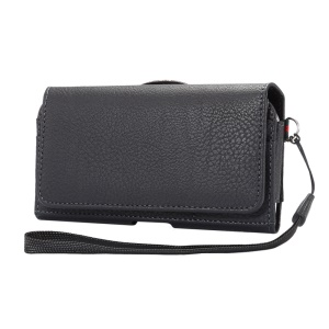 Litchi Leather Holster Pouch with Wallet Card Slots for iPhone X/8 Samsung S9 S8 S7/Huawei P9 Etc - Black