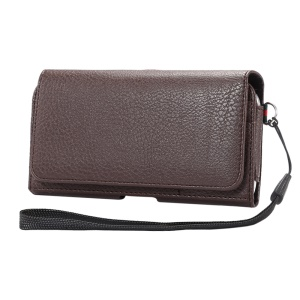 Litchi Leather Wallet Belt Clip Case with Hand Strap for iPhone X/8 Samsung S9 S8 S7/Huawei P9 Etc - Brown
