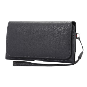 Litchi Grain Leather Holster Pouch for Samsung Mega 6.3 I9200/Mega 5.8 I9150 - Black