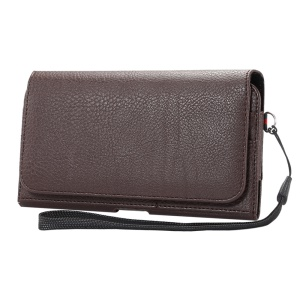 Litchi Grain Leather Holster Bag Case for Samsung Mega 6.3 I9200/Mega 5.8 I9150 - Brown