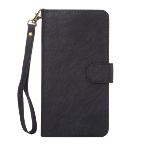 A1 Universal Leather Wallet Phone Case for Samsung Galaxy Mega 6.3 I9200 with Lanyard - Black