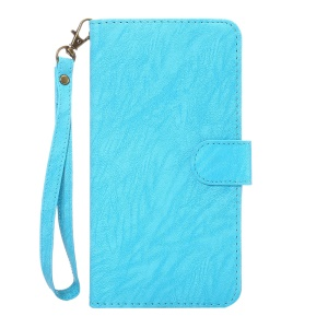 A1 Universal Leather Wallet Cell Phone Cover for Samsung Galaxy Mega 6.3 I9200 Etc with Lanyard - Blue