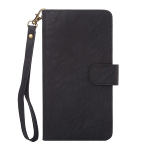 Texture Leather Wallet Universal Mobile Case with Strap for Samsung S9 S8, Outer Size: 15.7x8x1.8cm - Black