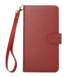 Texture Leather Universal Wallet Case with Strap for Phones, Outer Size: 15.7x8x1.8cm - Red