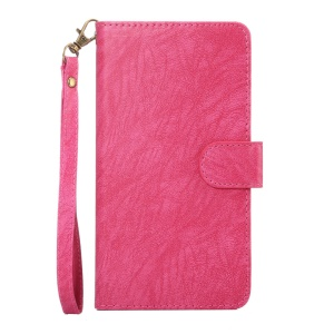 Texture Leather Universal Wallet Mobile Case with Strap for Phones, Outer Size: 15.7x8x1.8cm - Rose