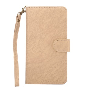 Texture Leather Wallet Universal Phone Case with Strap for Phones, Outer Size: 15.7x8x1.8cm - Apricot