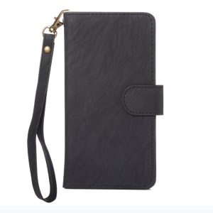 Texture Leather Wallet Universal Mobile Case with Strap for Phones, Outer Size: 14.5x7.5x1.8cm - Black