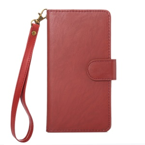 Texture Leather Wallet Universal Mobile Cover with Strap for Phones, Outer Size: 14.5x7.5x1.8cm - Red