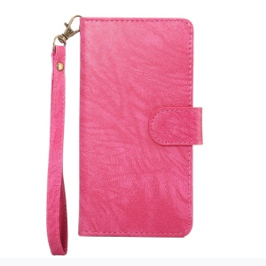 Texture Leather Wallet Universal Phone Case with Strap for Phones, Outer Size: 14.5x7.5x1.8cm - Rose