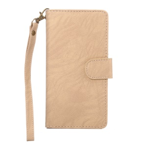 Texture Leather Wallet Universal Mobile Casing with Strap for Phones, Outer Size: 14.5x7.5x1.8cm - Apricot