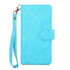 Texture Leather Universal Wallet Case with Strap for Phones, Outer Size: 14.5x7.5x1.8cm - Blue