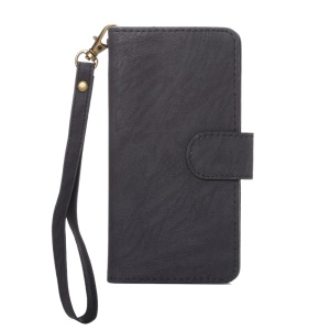A4 Universal Leather Wallet Phone Case for iPhone 8 7 / Samsung Galaxy S4 with Lanyard - Black