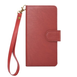 A4 Universal Leather Wallet Phone Cover for iPhone 8 7 / Samsung Galaxy S4 with Lanyard - Red