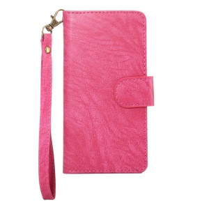 A4 Universal Leather Wallet Phone Shell for iPhone 8 7 / Samsung Galaxy S4 with Lanyard - Rose