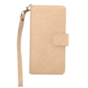 A4 Universal Leather Wallet Mobile Phone Case for iPhone 8 7 / Samsung Galaxy S4 with Lanyard - Apricot