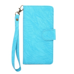 A4 Universal Leather Wallet Mobile Phone Cover Casing for iPhone 7 / Samsung Galaxy S4 with Lanyard - Blue