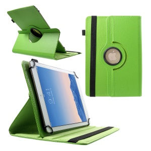 360 Degree Rotary Litchi Leather Stand Cover for 9-10 inch Tablets, Size: 24-26cm x 16-18.5cm - Green