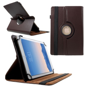 360 Degree Rotary Stand Litchi Leather Folio Case for 9-10 inch Tablets, Size: 24-26cm x 16-18.5cm - Coffee
