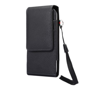 Vertical Card Holder Holster Pouch Case with Rotating Belt Clip for iPhone X/8 Samsung S9 S8/Huawei P9 Etc., Size: 150 x 73 x 18mm - Black