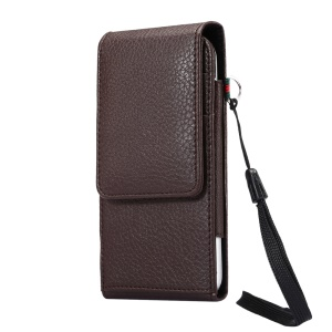 Vertical Holster Belt Clip Pouch Case with Card Slots for iPhone X/8 Samsung S9 S8/Huawei P9 Etc., Size: 150 x 73 x 18mm - Coffee