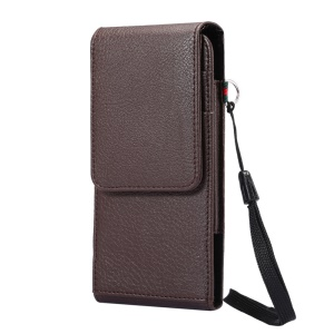 Litchi Grain Leather Belt Clip Vertical Holster with Strap for Samsung S7 Edge, Size: 16 x 7.8 x 1.8cm - Brown