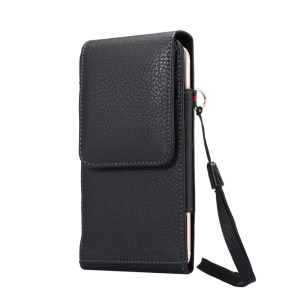 Card Slots Litchi Leather Holster Cover for iPhone 7 Plus/Huawei Mate 9 etc, Size: 16.5 x 8.1 x 1.5cm - Black