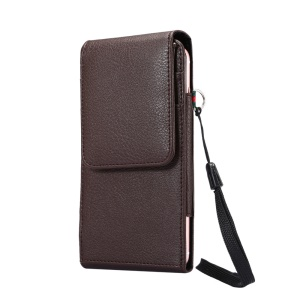 Litchi Leather Holster Card Holder Case for iPhone X / 8 / 8 Plus / 7 Plus/Samsung Galaxy Note 8/Huawei Mate 9 etc, Size: 16.5 x 8.1 x 1.5cm - Brown