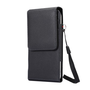 Card Slots Litchi Leather Holster Cover for Samsung Mega 6.3/Mega 5.8 etc, Size: 17 x 8.5 x 1.5cm - Black