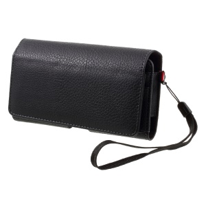 Litchi Grain Leather Holster Case Dual-layer Coin/Card Slots Pouch for iPhone X/8 /Samsung S9 S8, Size: 147 x 73 x 10mm