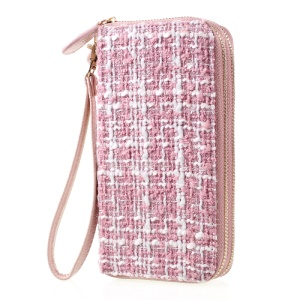 Leather Handbag Pouch Cover for iPhone 7/6s/6, Size: 141 x 70mm - Stitched Pattern / Pink