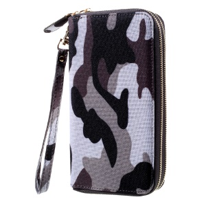 Handbag Style Leather Wallet Pouch for iPhone 7 Plus, Size: 162 x 82mm - Camo Pattern / Grey