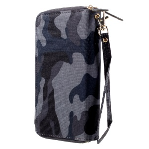 Leather Wallet Pouch with Hand Strap for iPhone 7 Plus, Size: 162 x 82mm - Camo Pattern / Dark Blue