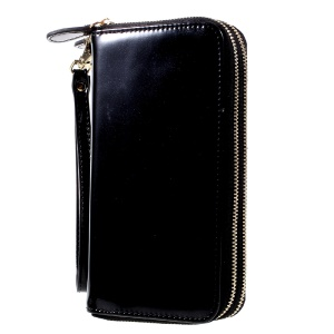 Leather Wallet Zipper Pouch with Hand Strap for iPhone 7 Plus, Size: 162 x 82mm - Black