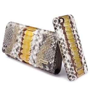 ICARER Universal Python Leather Wallet for iPhone 7 Plus etc., Inner Size: 175 x 80 x 25mm - Gold