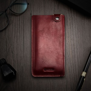 ICARER 5.5 inch Universal Retro Vegetable Tanned Leather Pouch for iPhone 7 Plus etc, Size: 15.5 x 8.1 x 0.5cm - Wine Red