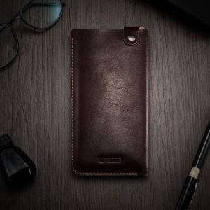 ICARER 5.5 inch Universal Retro Vegetable Tanned Leather Sleeve for iPhone 7 Plus etc, Size: 15.5 x 8.1 x 0.5cm - Coffee
