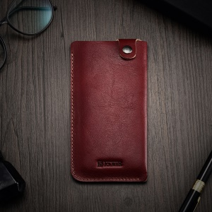 ICARER Universal Vegetable Tanned Leather Pouch for iPhone 8/7 etc., Size: 155 x 82 x 3mm - Wine Red