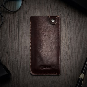 ICARER Universal Mobile Phone Leather Pouch for iPhone 8/7 etc., Size: 155 x 82 x 3mm - Coffee