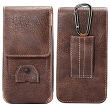 Elephant Texture Vertical Leather Holster Pouch Card Holder with Carabiner, Inner Size: 17x8x1cm - Coffee