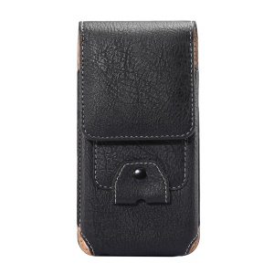 Elephant Texture Vertical Leather Holster Card Slot Mobile Case with Carabiner, Inner Size: 14x7.5x1cm - Black