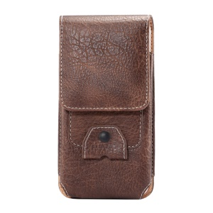 Elephant Texture Card Holder Leather Pouch Accessory Cover Holster for iPhone SE 5s 5 Etc, Size: 135 x 73 x 15mm - Brown