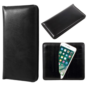 JDK Universal Leather Case Wallet for iPhone 7 Plus / Samsung Galaxy A7 (2017), Inner Size: 168 x 80mm - Black