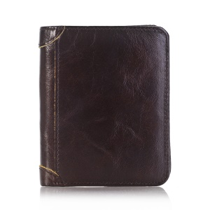 Bi-fold Genuine Leather Money Clip Short Purse Men's Wallet  - Coffee