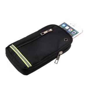Outdoor Camping Hiking Zipper Pouch Bag with Carabiner for iPhone 7 Plus etc. Size: 19x11.5x2cm - Black