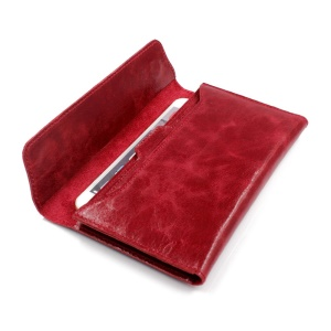 Genuine Leather Long Magnetic Wallet Phone Pouch for iPhone 7 Plus / 7, Huawei P10 Plus Etc. - Red