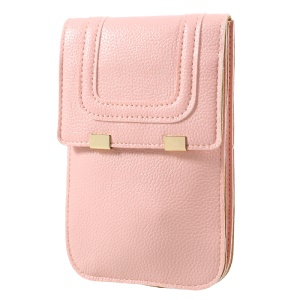 Universal Woman Leather Shell with Shoulder Strap for iPhone 7 Plus/Samsung Galaxy S8 Plus, Size: 175 x 105mm - Pink