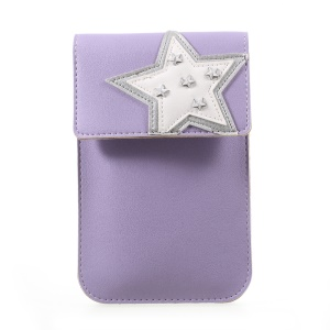 Universal Woman Leather Pouch Case with Detachable Strap for iPhone 7 Plus/Samsung Galaxy S8 Plus, Size: 172 x 105mm - Purple