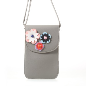 Universal Flower Decor Mini Leather Shoulder Bag for iPhone 7 Plus / Huawei P10, Size: 19 x 12cm - Grey